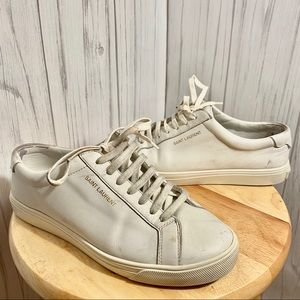 Saint Laurent White Lace Up Sneakers Women 7.5